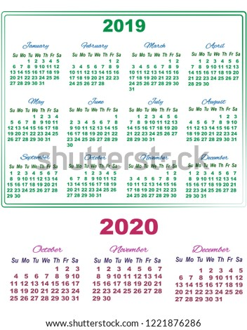 2019 Calendar October November December 2020 Stock Vector Royalty