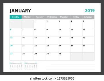 2019 calendar planner corporate template design January week start on Sunday.