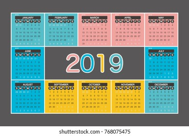 2019 Calendar Planner Design.