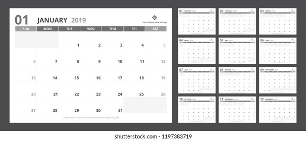 2019 Calendar Planner A 5 Size Template Stock Vector Royalty Free