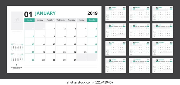 2019 calendar planner set for template corporate design week start on Sunday.