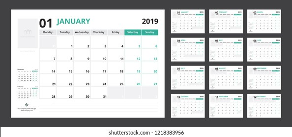 2019 calendar planner set for template corporate design week start on Monday.