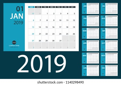 2019 Calendar PLanner - vector illustration.Template. Mock up. Week starts Sunday