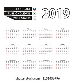 2019 calendar in Slovenian language, week starts from Sunday. Vector Illustration.