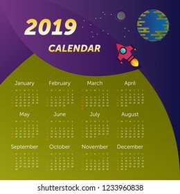 2019 calendar. Spaceship and earth