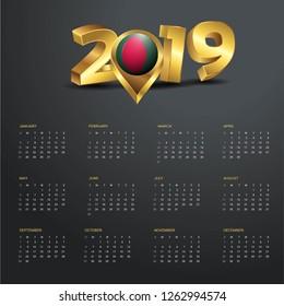 2019 Calendar Template. Bangladesh Country Map Golden Typography Header