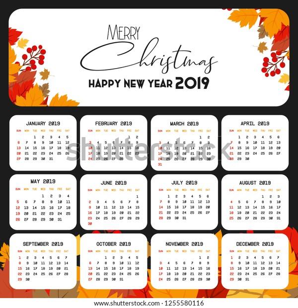 Christmas 2019 Calendar.2019 Calendar Template Christmas Happy New Stock Vector