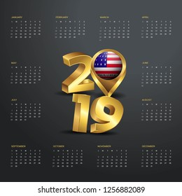 2019 Calendar Template. Golden Typography with Bikini Atoll Country Map Golden Typography Header