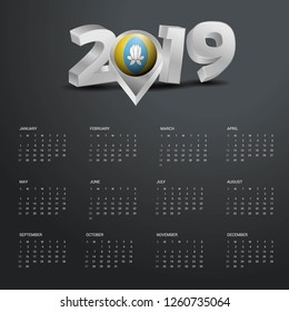 2019 Calendar Template. Grey Typography with Kalmykia Country Map Golden Typography Header