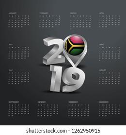 2019 Calendar Template. Grey Typography with Vanuatu Country Map Golden Typography Header