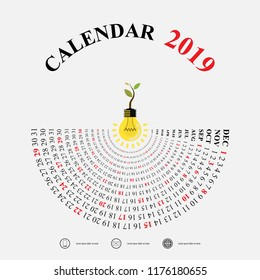 2019 Calendar Template with idea light bulb icon.Semicircle calendar.Calendar 2019 Set of 12 Months.Yearly calendar vector design stationery template.Happy New Year 2019 background.Vector illustration