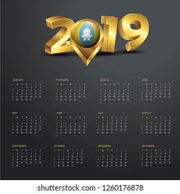 2019 Calendar Template. Kalmykia Country Map Golden Typography Header