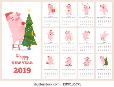 2019 calendar template. New year celebration pig character at design calendar planner pages vector layout diary months. Illustration of calendar to new year with pink pig