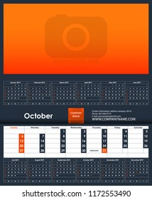 2019 Calendar Template April Place Your Stock Vector Royalty Free