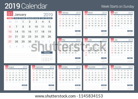 Calendar Template For Pages | 2019 Calendar Template Planner 12 Pages Stock Vector Royalty Free