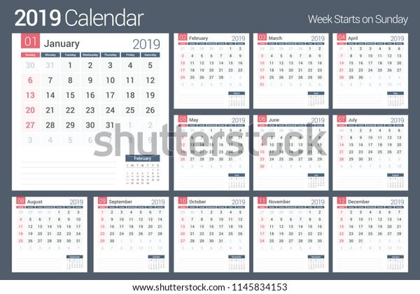image about Calendar Template for Pages identified as 2019 Calendar Template Planner 12 Web pages Inventory Vector