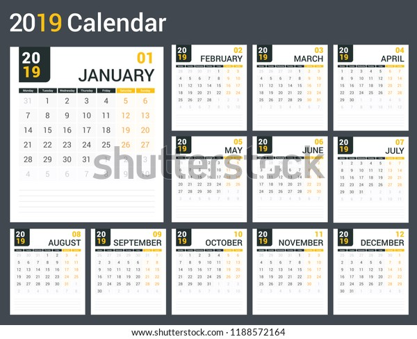 picture about Calendar Template for Pages referred to as 2019 Calendar Template Planner 12 Internet pages Inventory Vector