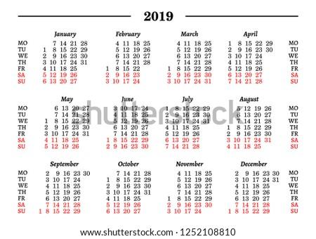 2019 Calendar Template Vector Illustration Stock Vector Royalty