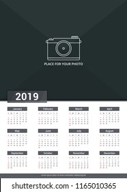 2019 Calendar template, week starts on Sunday, a3 size, place for your photo, vector eps10 illustration