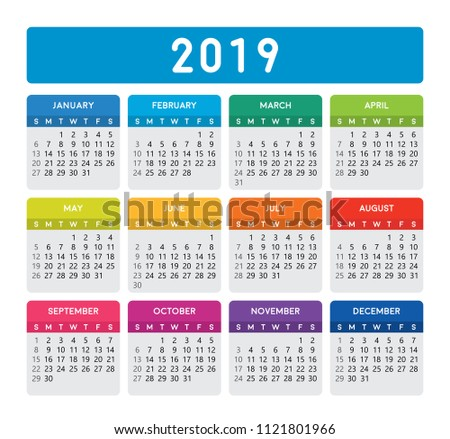 2019 Calendar Vertical Calendar Template On Stock Vector Royalty