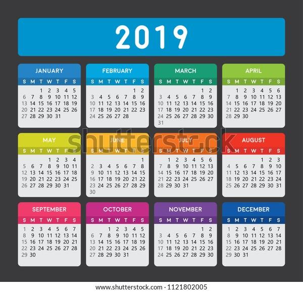 2019 Calendar Vertical Calendar Template On Stock Vector