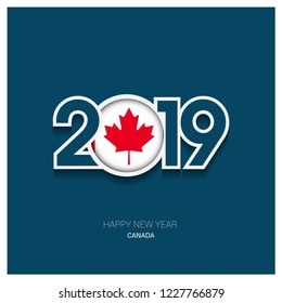2019 canada typography happy new year background