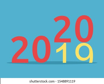 2019 changes for 2020 on blue background. New year, happy, beginning and christmas concept. Flat design. Vector illustration. EPS 8, no transparency