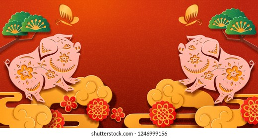2019 chinese lunar new year greeting paper cut or spring festival card design. Pig zodiac sign and tree, hydrangea flowers and cloud, butterfly on cover for CNY celebration. Holiday and piglet theme
