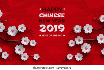 2019 chinese new year banner, poster design, red background, traditional sakura cherry flowers on tree branches, clouds, pattern oriental. Congratulation text, paper cut out style, vector illustration