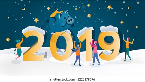 2019 Chinese New Year. Happy new year 2019 vector illustration, Christmas card, Year of opportunities for startup launch, start of business project. Big solution! Happy holidays. NY party.