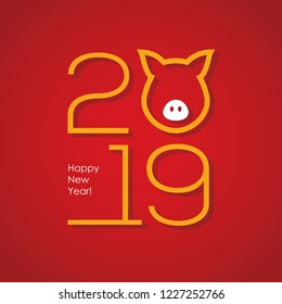 2019 Chinese New Year minimal greeting card or banner design with numbers and abstract piglet head silhouette. Pig snout linear icon.