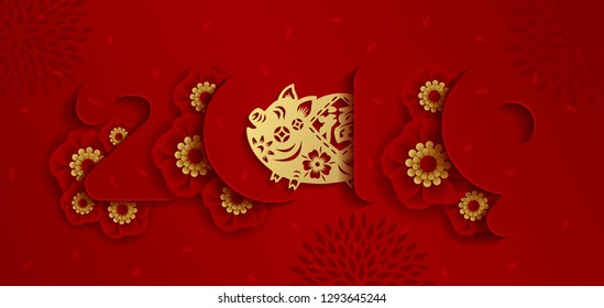 2019 Chinese new year paper art with pig's paper cut on red background. year of the pig.  Vector illustration.