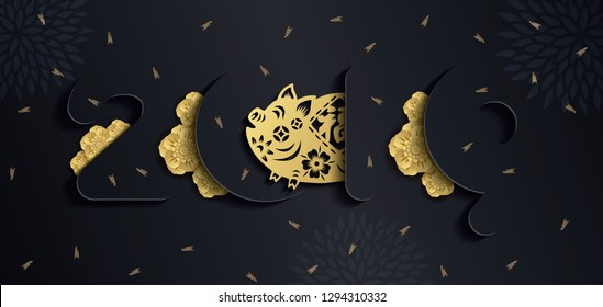 2019 Chinese new year paper art with pig's paper cut on dark gray background. year of the pig.  Vector illustration.