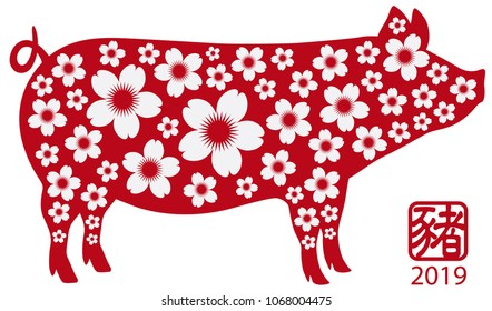 2019 Chinese New Year of the Pig Red Silhouette Isolated on White Background with Chinese Text Symbol of Pig and Floral Pattern vector vector Illustration