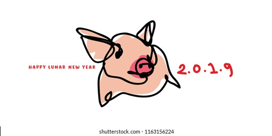 2019 chinese new year with simple minimalist cartoon line art illustration of pig