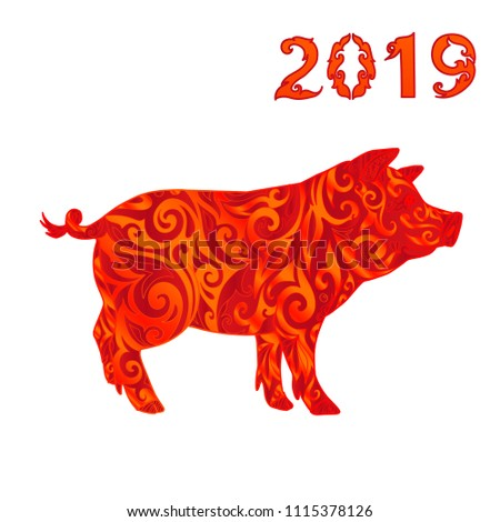 2019 chinese zodiac sign year pig stock vector royalty free 1115378126 shutterstock. Black Bedroom Furniture Sets. Home Design Ideas