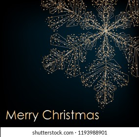 2019. Christmas background with Shining gold Snowflakes. Lettering Merry Christmas card vector Illustration.