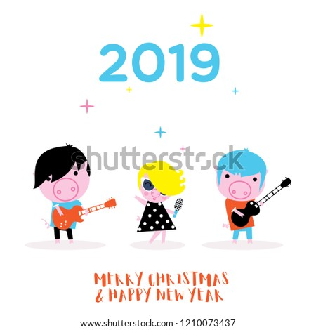 2019 Christmas Chinese New Year Party Stock Vector Royalty Free