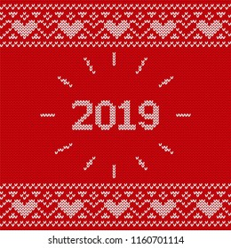 2019 Christmas knitting background. Knit seamless pattern. Vector Xmas and New year red design. Knitted winter texture. Holyday sweater ornaments.