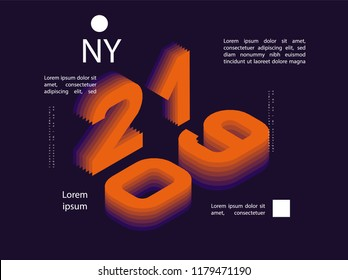 2019 Colored . Banner with 2019 Numbers. Vector New Year illustration