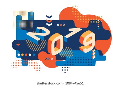 2019 Colored Memphis style. Banner with 2019 Numbers. Vector New Year illustration.