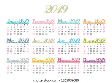 2019 colorful calendar on white background. Vector.