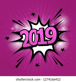2019 comic text speech bubble on purple background, stock vector