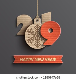 2019 Creative happy new year banner in paper style for your seasonal holidays flyers, greetings cards and christmas themed invitations. Vector illustration.