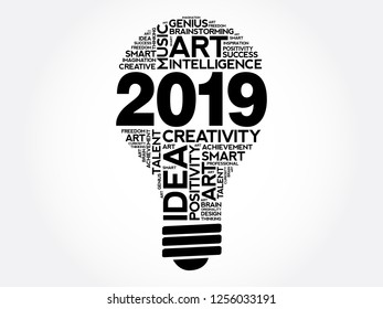 2019 Creative Ideas bulb word cloud collage, concept background