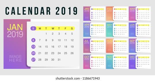 2019 Desk Calendar. Simple Colorful Gradient minimal elegant desk calendar template