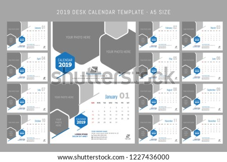 2019 Desk Calendar Template A 5 Size Stock Vector Royalty Free