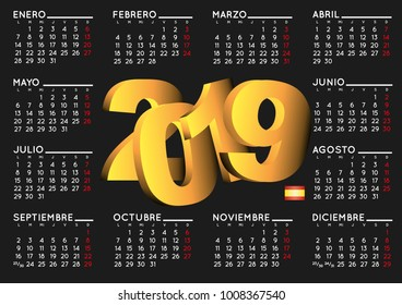2019 elegant black calendar in spanish. Year 2019 calendar. Calendar 2019. calendario 2019.