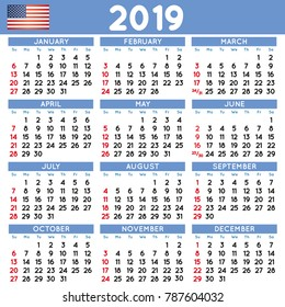 2019 elegant squared calendar english USA. Year 2019 calendar. Calendar 2019. File easy to edit and apply. Week starts on Sunday