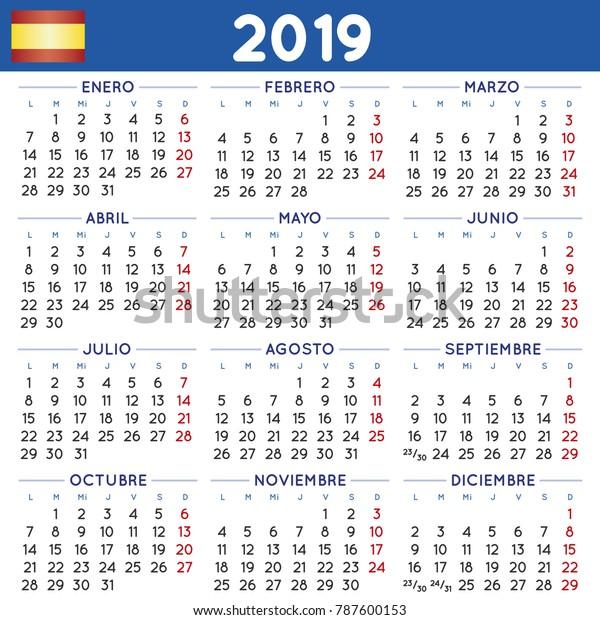 Calendario 2019 Week Number.2019 Elegant Squared Calendar Spanish Year Stock Vector